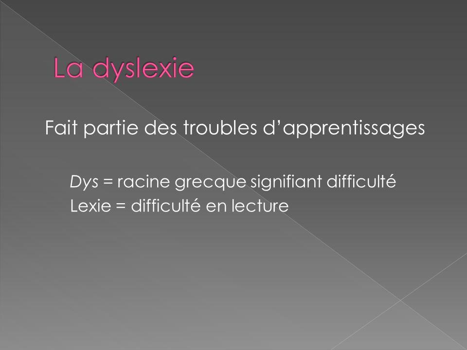 Fait partie des troubles dapprentissages Dys = racine grecque signifiant difficulté Lexie = difficulté en lecture