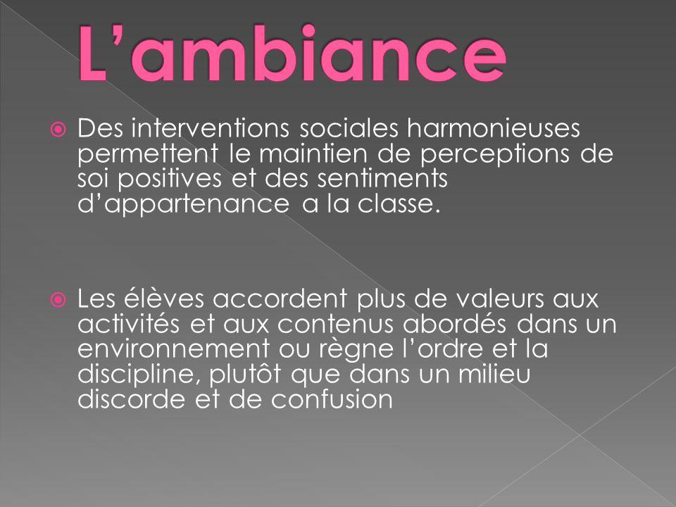 Des interventions sociales harmonieuses permettent le maintien de perceptions de soi positives et des sentiments dappartenance a la classe.