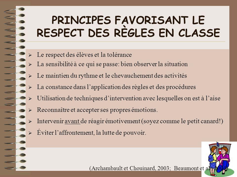 Le respect des élèves et la tolérance La sensibilité à ce qui se passe: bien observer la situation Le maintien du rythme et le chevauchement des activ