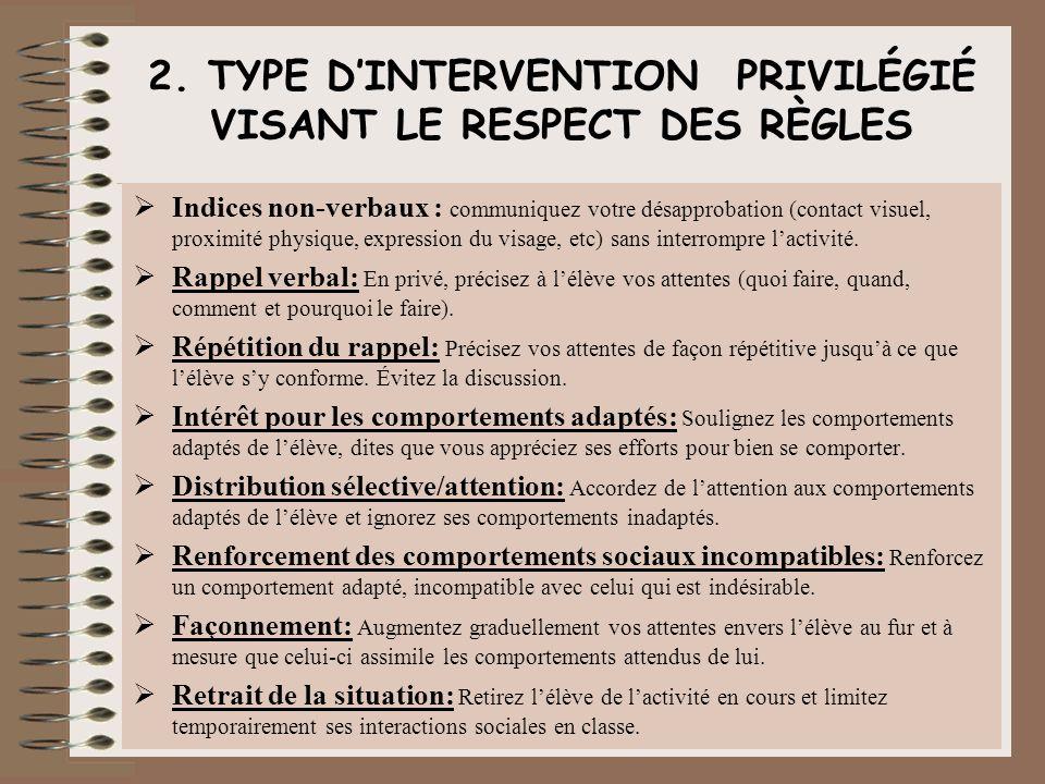 2. TYPE DINTERVENTION PRIVILÉGIÉ VISANT LE RESPECT DES RÈGLES Indices non-verbaux : communiquez votre désapprobation (contact visuel, proximité physiq