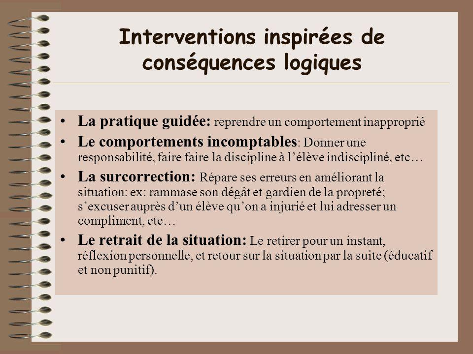 Interventions inspirées de conséquences logiques La pratique guidée: reprendre un comportement inapproprié Le comportements incomptables : Donner une