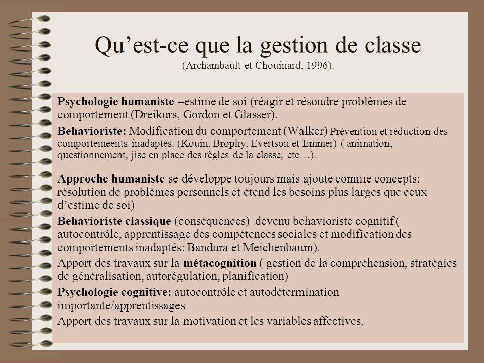 Quest-ce que la gestion de classe (Archambault et Chouinard, 1996). Psychologie humaniste –estime de soi (réagir et résoudre problèmes de comportement
