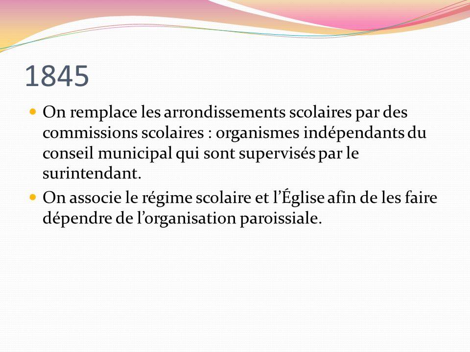 1845 On remplace les arrondissements scolaires par des commissions scolaires : organismes indépendants du conseil municipal qui sont supervisés par le