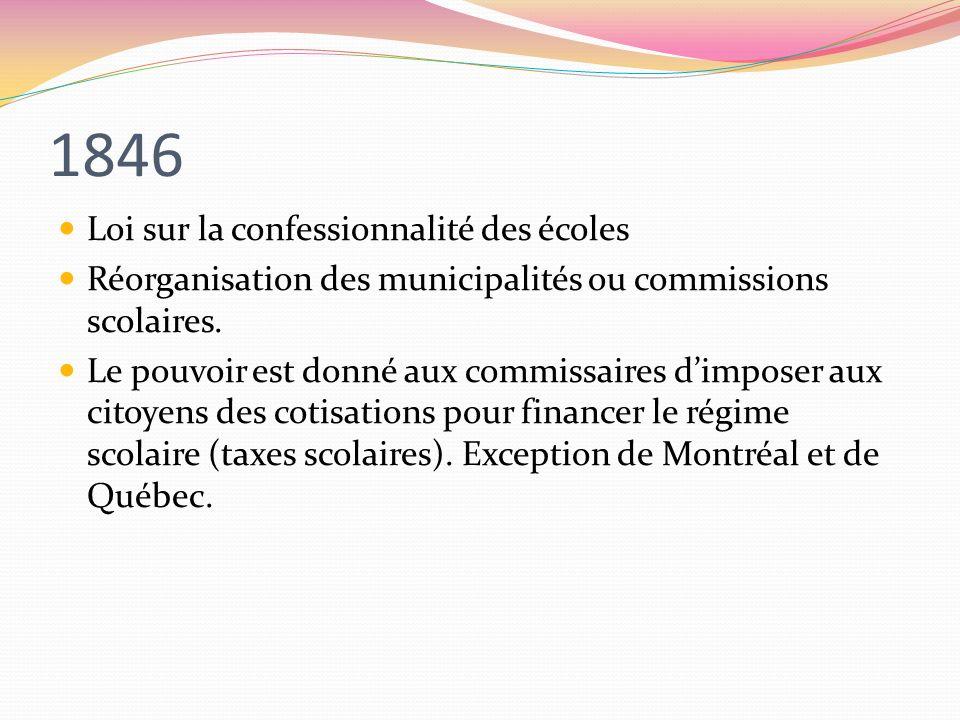 1846 Loi sur la confessionnalité des écoles Réorganisation des municipalités ou commissions scolaires. Le pouvoir est donné aux commissaires dimposer