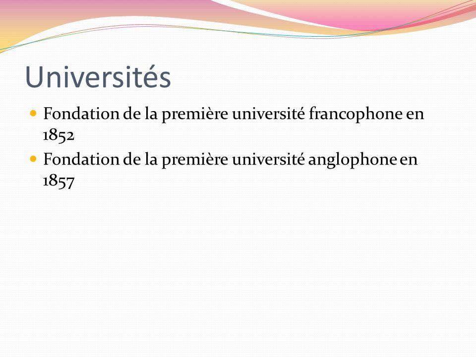 Universités Fondation de la première université francophone en 1852 Fondation de la première université anglophone en 1857