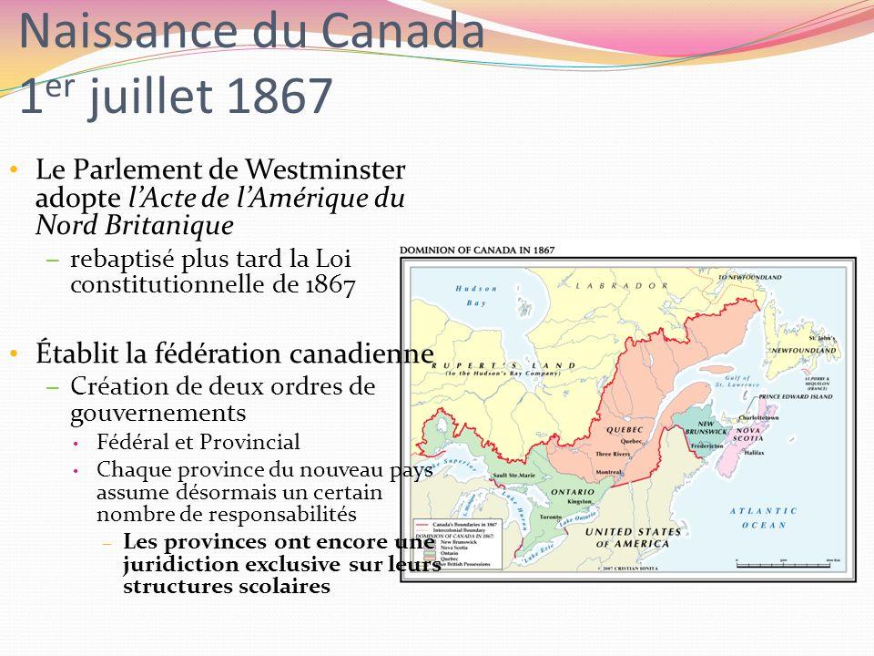Naissance du Canada 1 er juillet 1867 Le Parlement de Westminster adopte lActe de lAmérique du Nord Britanique – rebaptisé plus tard la Loi constituti