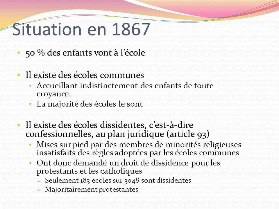 Situation en 1867 50 % des enfants vont à lécole Il existe des écoles communes Accueillant indistinctement des enfants de toute croyance. La majorité