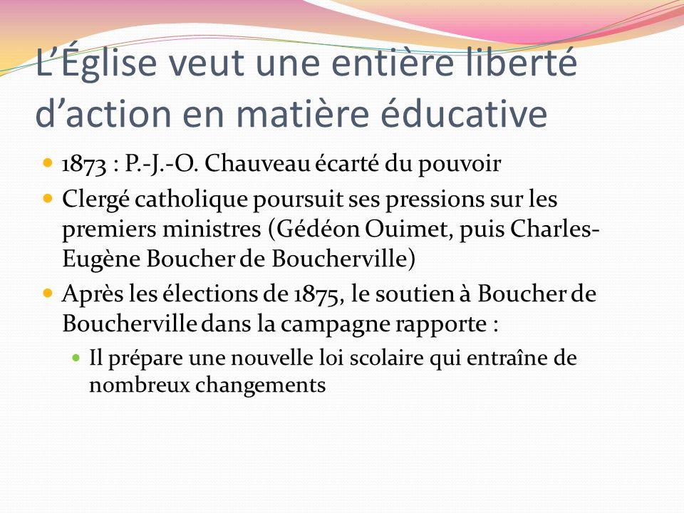 LÉglise veut une entière liberté daction en matière éducative 1873 : P.-J.-O. Chauveau écarté du pouvoir Clergé catholique poursuit ses pressions sur