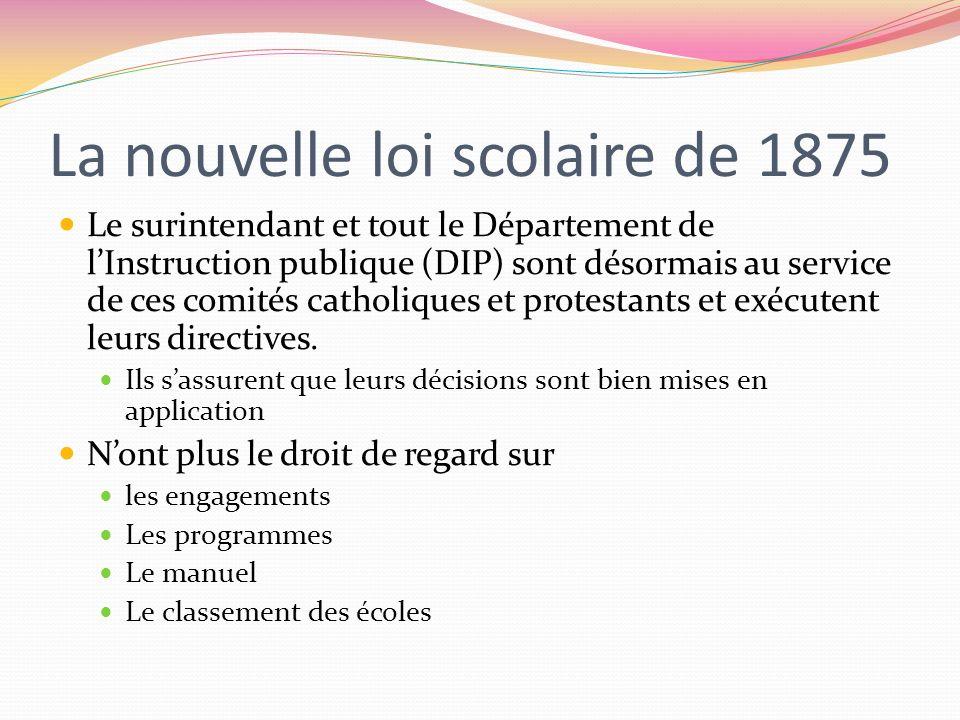 La nouvelle loi scolaire de 1875 Le surintendant et tout le Département de lInstruction publique (DIP) sont désormais au service de ces comités cathol