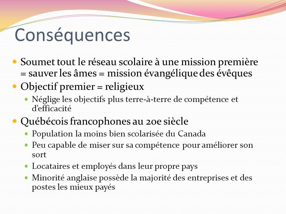 Conséquences Soumet tout le réseau scolaire à une mission première = sauver les âmes = mission évangélique des évêques Objectif premier = religieux Né