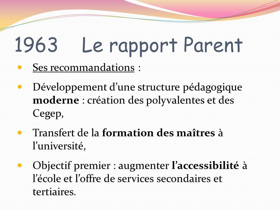 1963 Le rapport Parent Ses recommandations : Développement dune structure pédagogique moderne : création des polyvalentes et des Cegep, Transfert de l