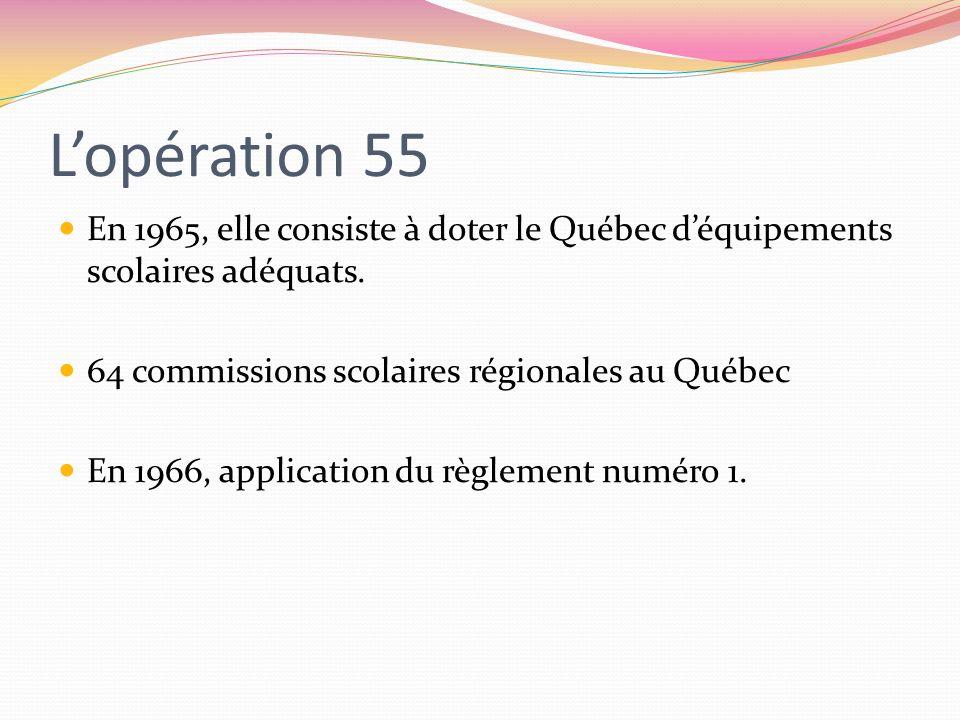 Lopération 55 En 1965, elle consiste à doter le Québec déquipements scolaires adéquats. 64 commissions scolaires régionales au Québec En 1966, applica