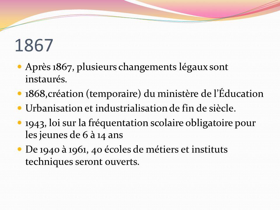 1867 Après 1867, plusieurs changements légaux sont instaurés. 1868,création (temporaire) du ministère de lÉducation Urbanisation et industrialisation