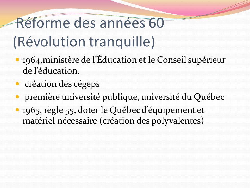 Réforme des années 60 (Révolution tranquille) 1964,ministère de lÉducation et le Conseil supérieur de léducation. création des cégeps première univers