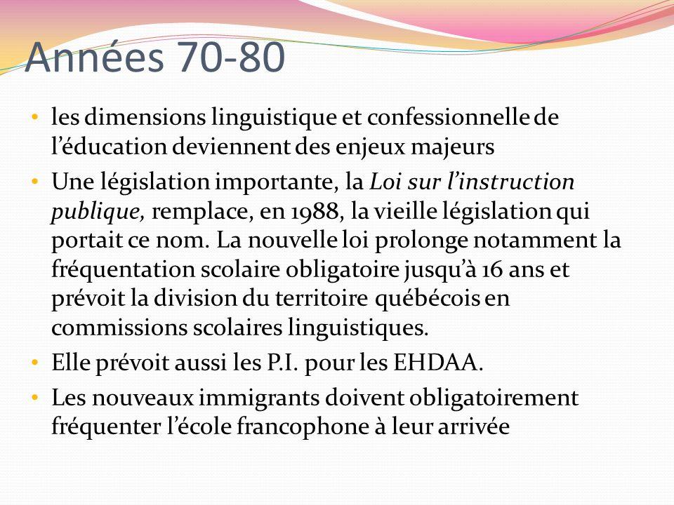 Années 70-80 les dimensions linguistique et confessionnelle de léducation deviennent des enjeux majeurs Une législation importante, la Loi sur linstru
