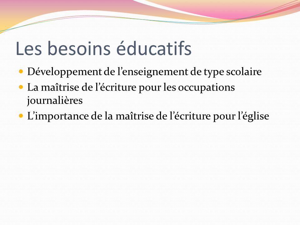 Les besoins éducatifs Développement de lenseignement de type scolaire La maîtrise de lécriture pour les occupations journalières Limportance de la maî