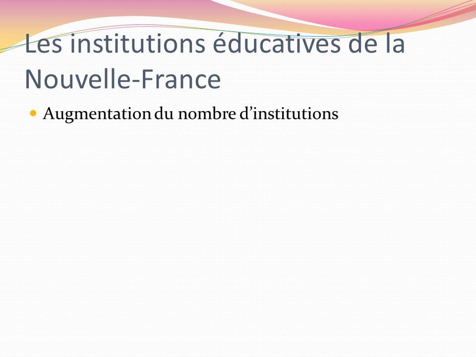 Les institutions éducatives de la Nouvelle-France Augmentation du nombre dinstitutions