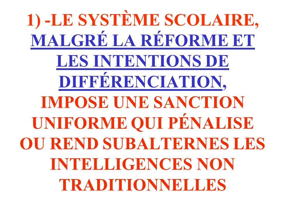 1) -LE SYSTÈME SCOLAIRE, MALGRÉ LA RÉFORME ET LES INTENTIONS DE DIFFÉRENCIATION, IMPOSE UNE SANCTION UNIFORME QUI PÉNALISE OU REND SUBALTERNES LES INT