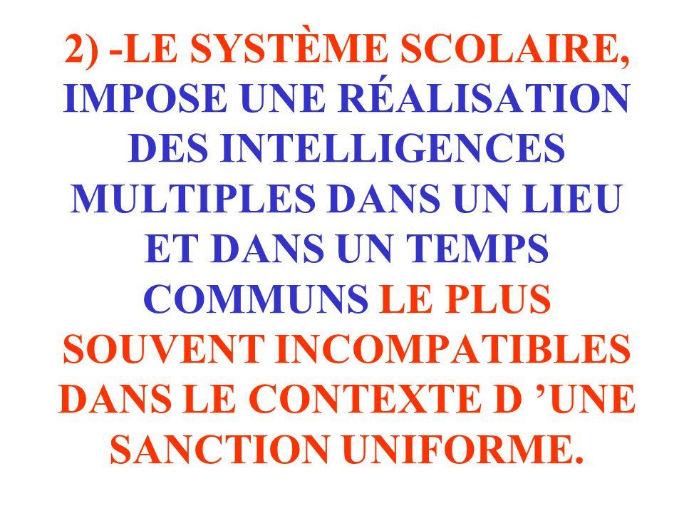 2) -LE SYSTÈME SCOLAIRE, IMPOSE UNE RÉALISATION DES INTELLIGENCES MULTIPLES DANS UN LIEU ET DANS UN TEMPS COMMUNS LE PLUS SOUVENT INCOMPATIBLES DANS L