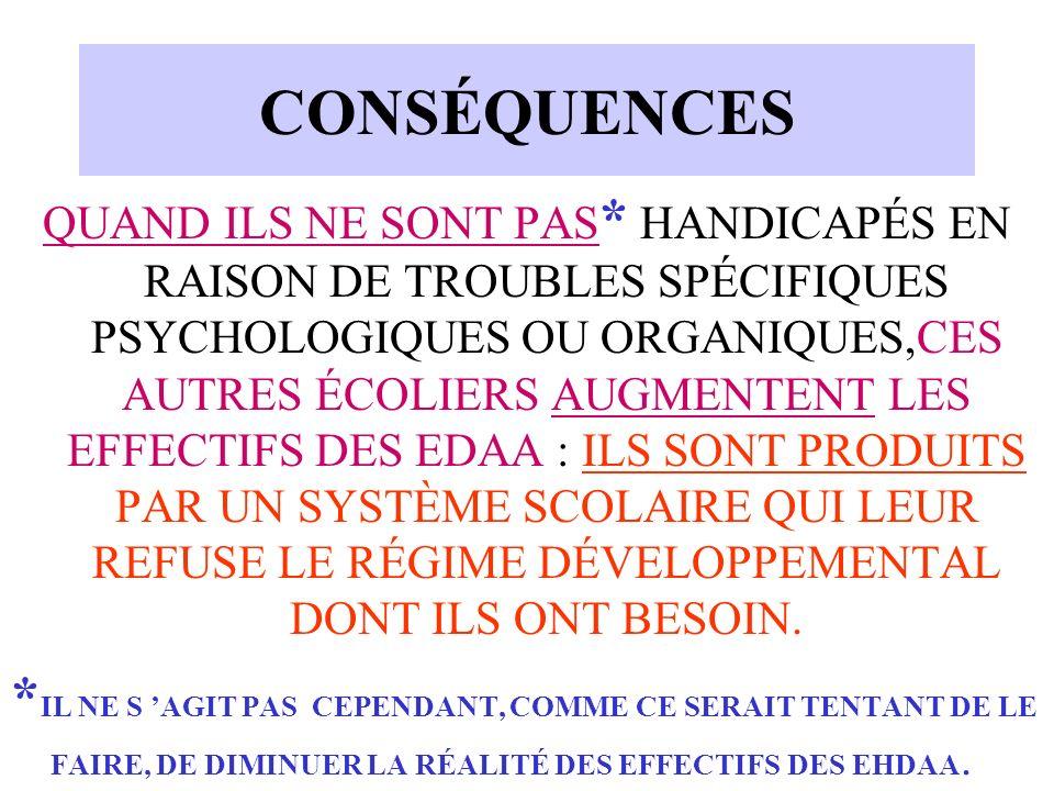 CONSÉQUENCES QUAND ILS NE SONT PAS * HANDICAPÉS EN RAISON DE TROUBLES SPÉCIFIQUES PSYCHOLOGIQUES OU ORGANIQUES,CES AUTRES ÉCOLIERS AUGMENTENT LES EFFE