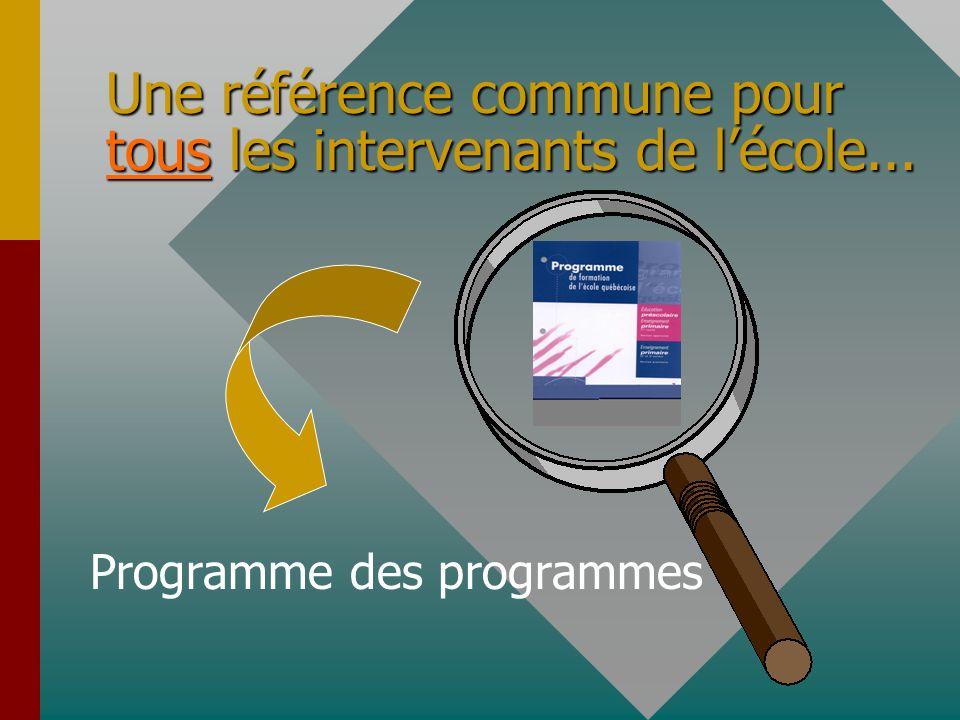 Une référence commune pour tous les intervenants de lécole... Programme des programmes