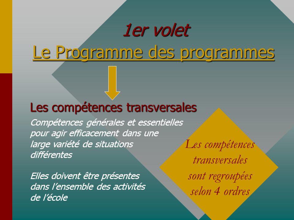 Le Programme des programmes 1er volet Les compétences transversales Compétences générales et essentielles pour agir efficacement dans une large variét