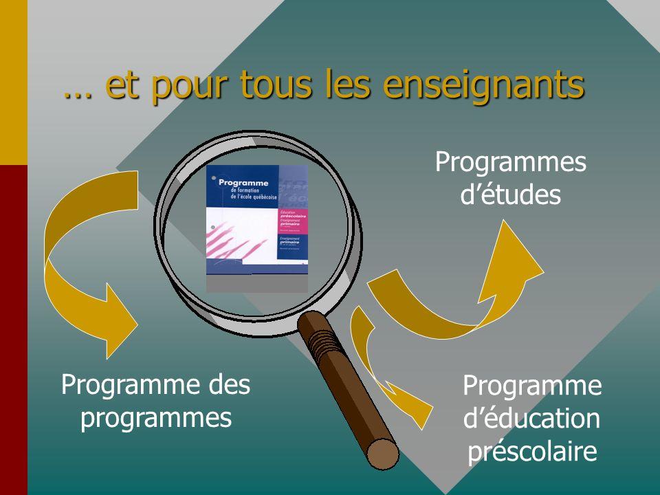 … et pour tous les enseignants Programme des programmes Programmes détudes Programme déducation préscolaire