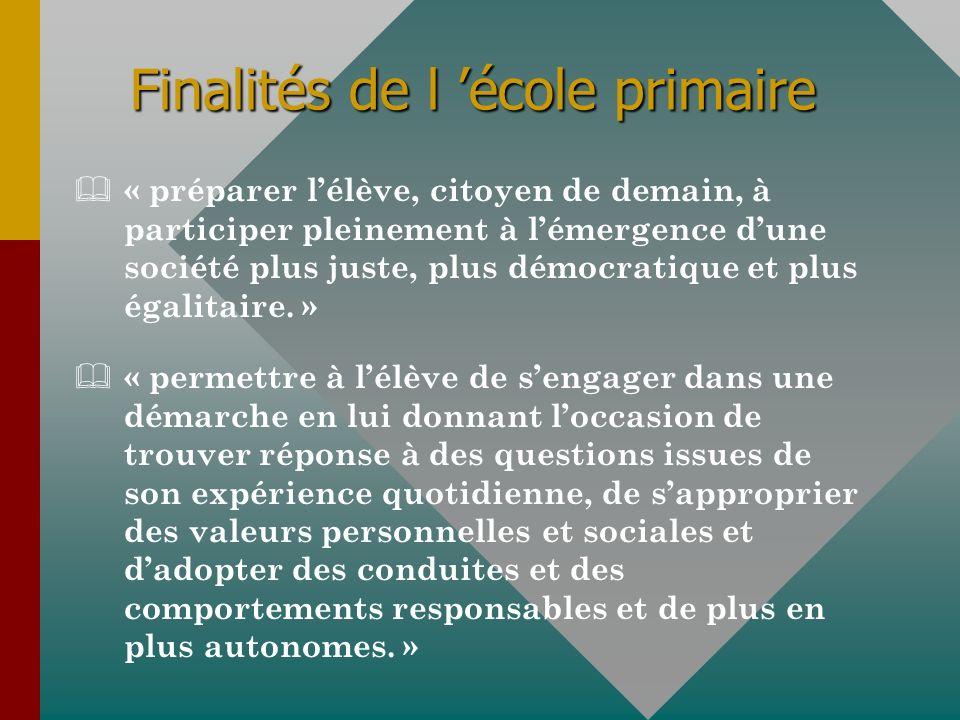 Finalités de l école primaire & « préparer lélève, citoyen de demain, à participer pleinement à lémergence dune société plus juste, plus démocratique et plus égalitaire.