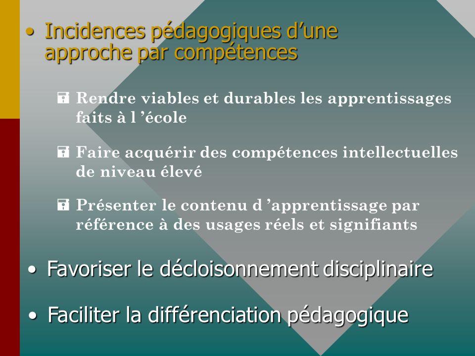 Incidences pédagogiques dune approche par compétencesIncidences pédagogiques dune approche par compétences = Rendre viables et durables les apprentiss