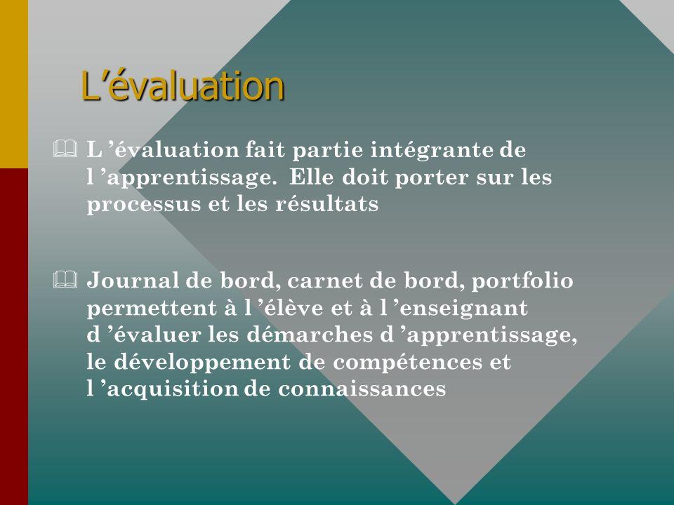 Lévaluation & L évaluation fait partie intégrante de l apprentissage. Elle doit porter sur les processus et les résultats & Journal de bord, carnet de
