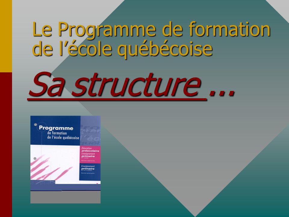 Le Programme de formation de lécole québécoise Sa Sa structure...
