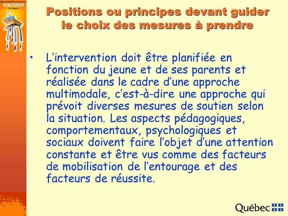 Positions ou principes devant guider le choix des mesures à prendre Lintervention doit être planifiée en fonction du jeune et de ses parents et réalis