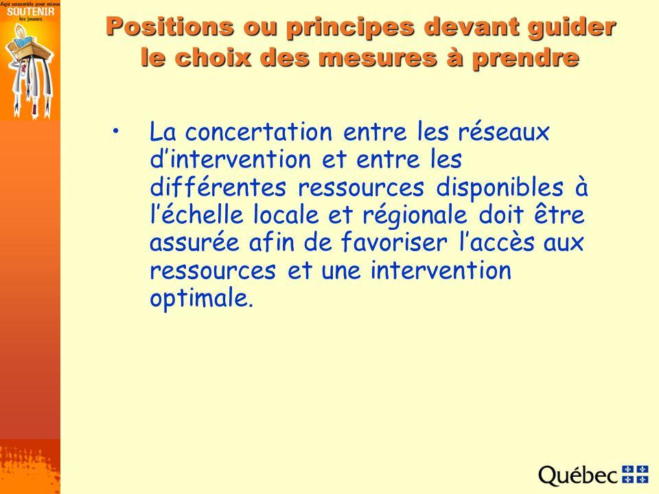 Positions ou principes devant guider le choix des mesures à prendre La concertation entre les réseaux dintervention et entre les différentes ressource