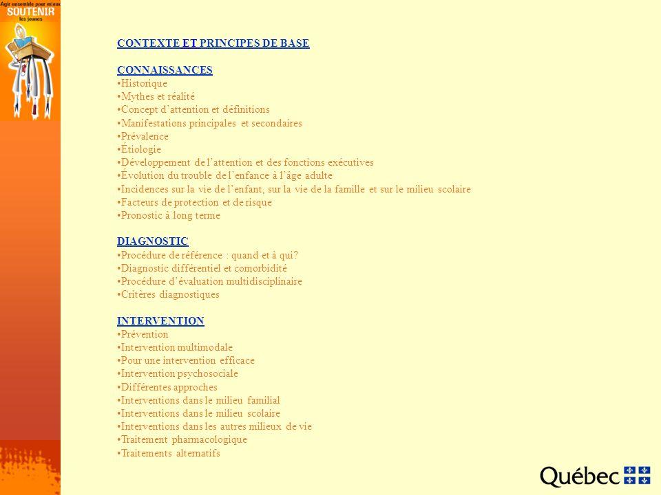CONTEXTECONTEXTE ET PRINCIPES DE BASEPRINCIPES DE BASE CONNAISSANCES Historique Mythes et réalité Concept dattention et définitions Manifestations pri