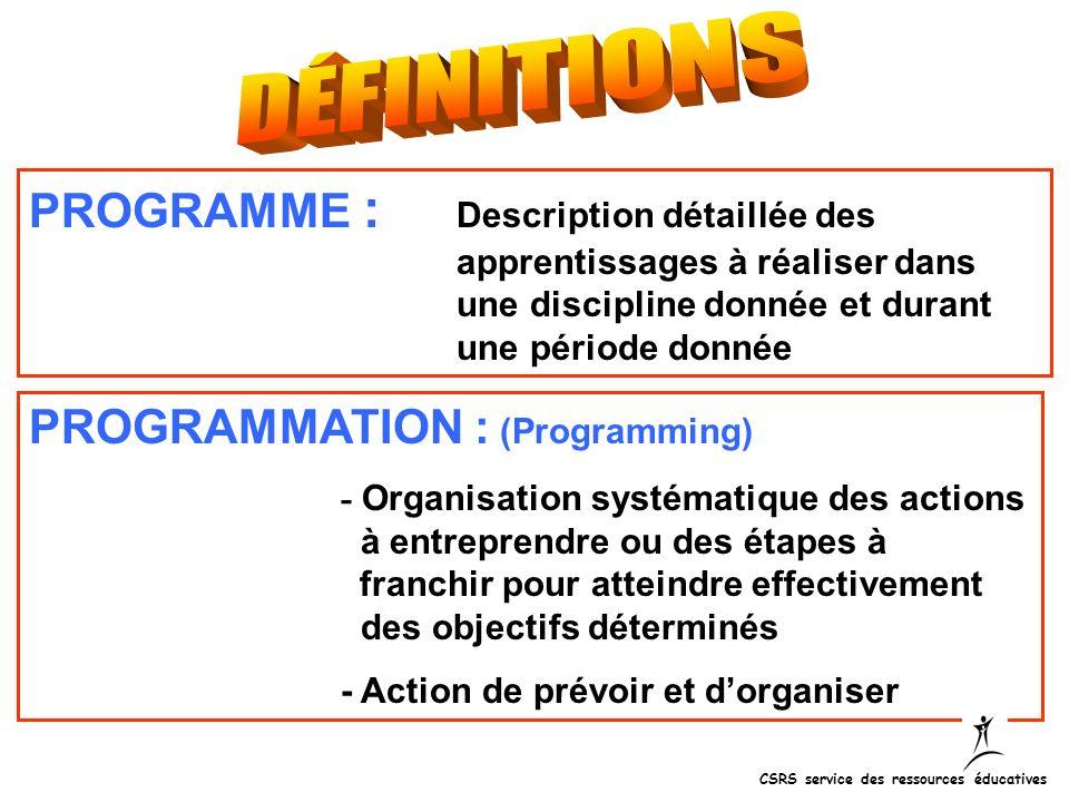 PROGRAMME : Description détaillée des apprentissages à réaliser dans une discipline donnée et durant une période donnée PROGRAMMATION : (Programming)
