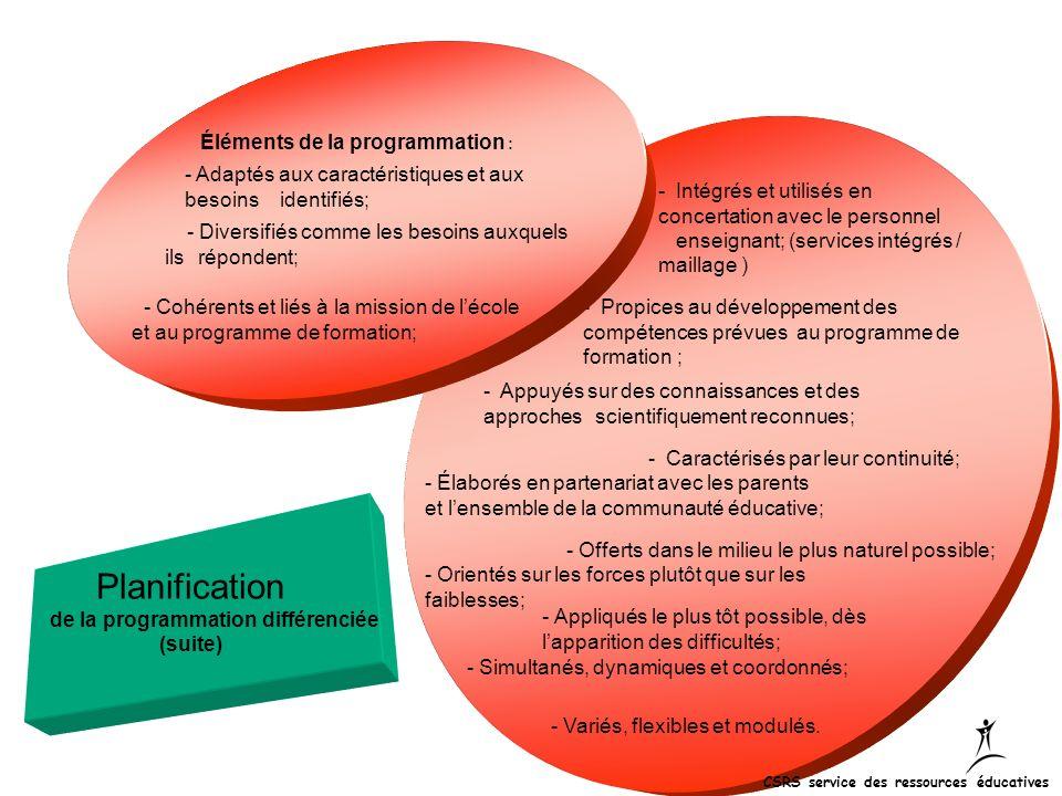 - Intégrés et utilisés en concertation avec le personnel enseignant; (services intégrés / maillage ) - Propices au développement des compétences prévu