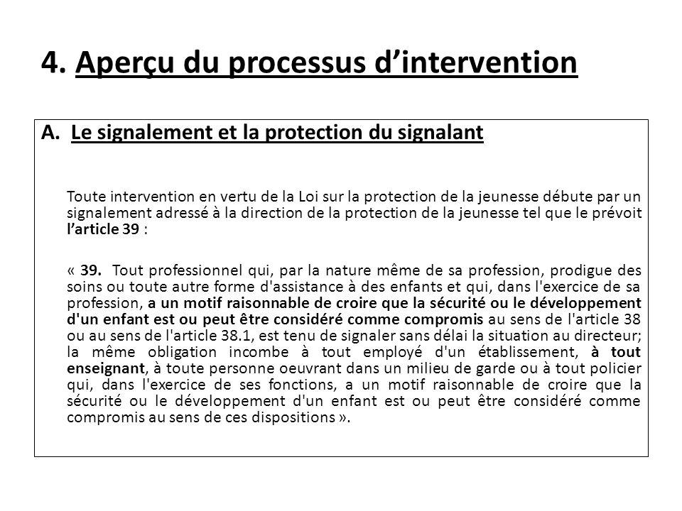 4. Aperçu du processus dintervention A. Le signalement et la protection du signalant Toute intervention en vertu de la Loi sur la protection de la jeu