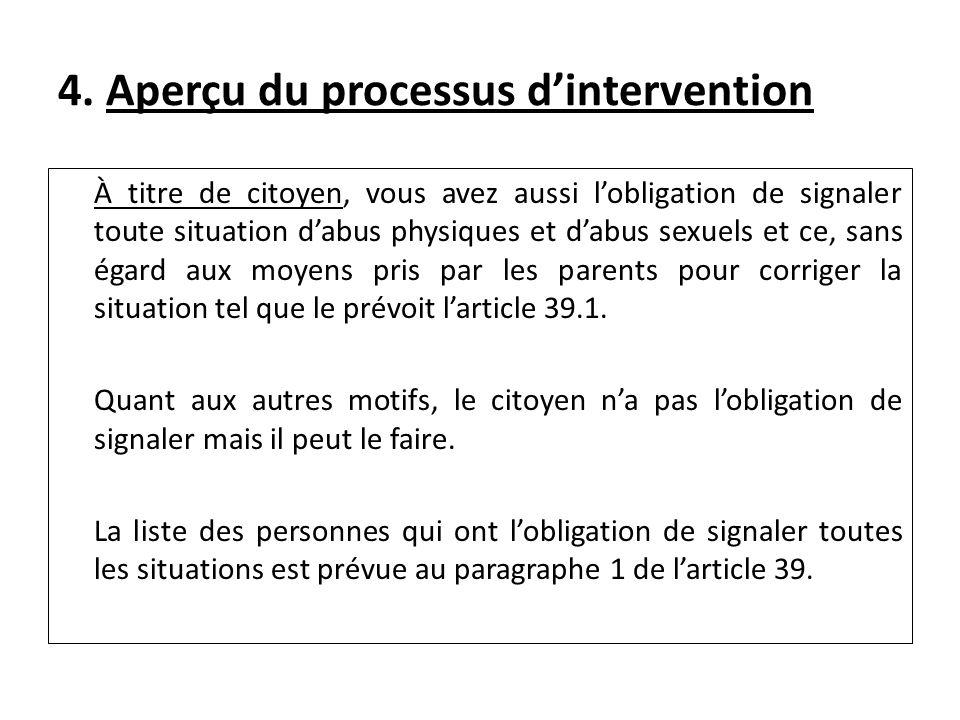 4. Aperçu du processus dintervention À titre de citoyen, vous avez aussi lobligation de signaler toute situation dabus physiques et dabus sexuels et c