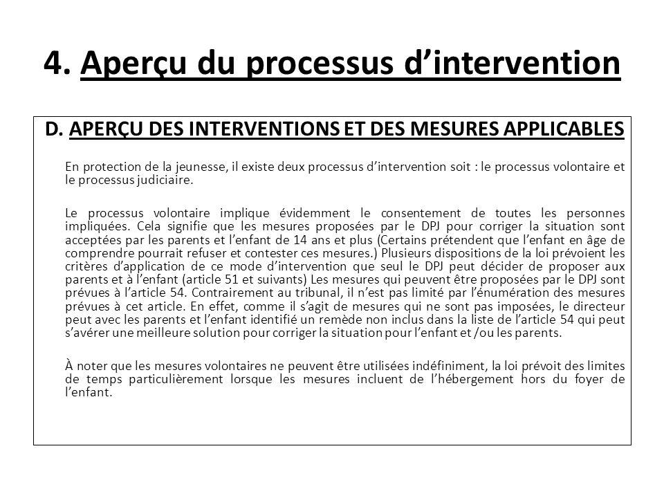 4. Aperçu du processus dintervention D. APERÇU DES INTERVENTIONS ET DES MESURES APPLICABLES En protection de la jeunesse, il existe deux processus din
