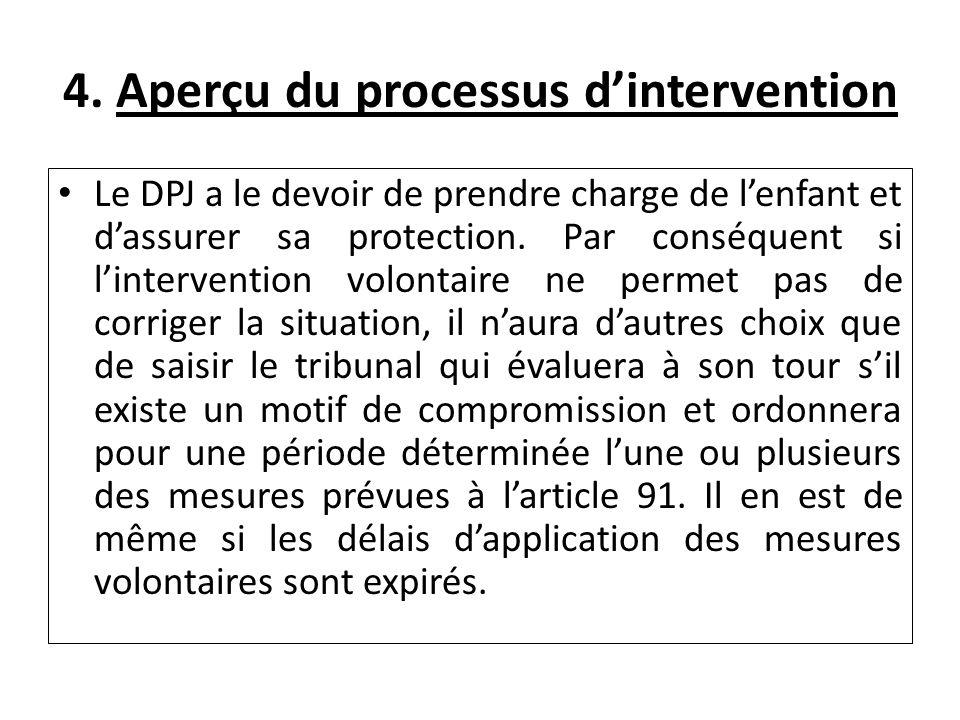 4. Aperçu du processus dintervention Le DPJ a le devoir de prendre charge de lenfant et dassurer sa protection. Par conséquent si lintervention volont
