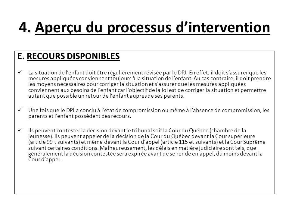 4. Aperçu du processus dintervention E. RECOURS DISPONIBLES La situation de lenfant doit être régulièrement révisée par le DPJ. En effet, il doit sass