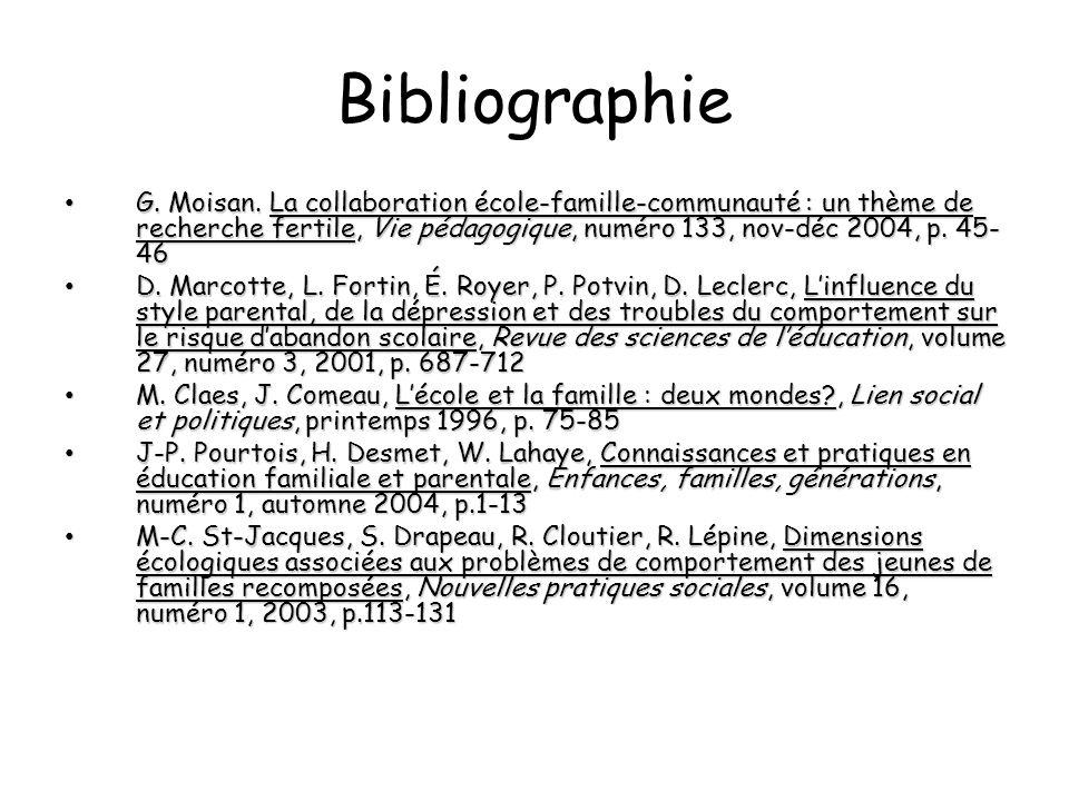 Bibliographie G. Moisan. La collaboration école-famille-communauté : un thème de recherche fertile, Vie pédagogique, numéro 133, nov-déc 2004, p. 45-