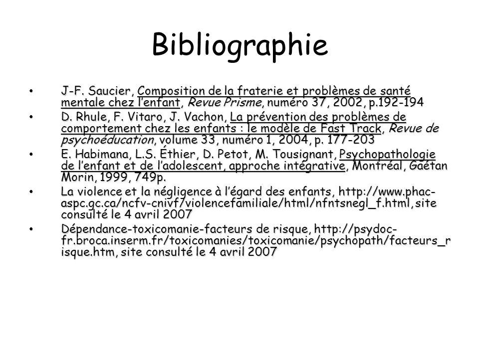 Bibliographie J-F. Saucier, Composition de la fraterie et problèmes de santé mentale chez lenfant, Revue Prisme, numéro 37, 2002, p.192-194 J-F. Sauci