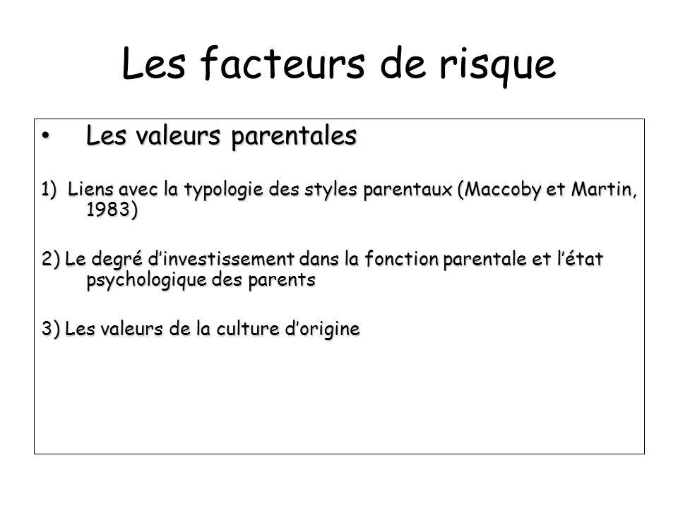 Les facteurs de risque Les valeurs parentales Les valeurs parentales 1) Liens avec la typologie des styles parentaux (Maccoby et Martin, 1983) 2) Le d