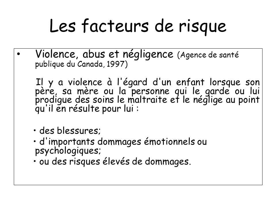Les facteurs de risque Violence, abus et négligence (Agence de santé publique du Canada, 1997) Violence, abus et négligence (Agence de santé publique