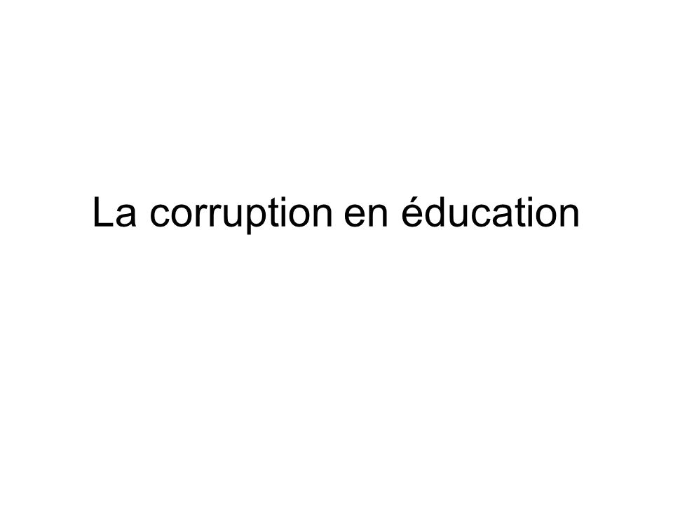 La corruption en éducation