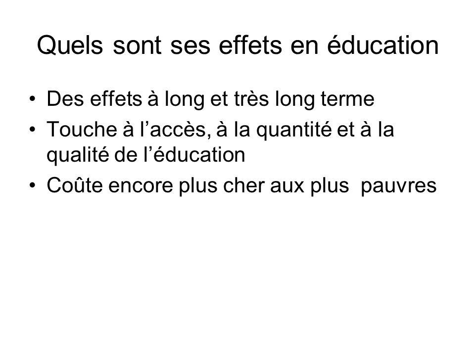 Quels sont ses effets en éducation Des effets à long et très long terme Touche à laccès, à la quantité et à la qualité de léducation Coûte encore plus cher aux plus pauvres