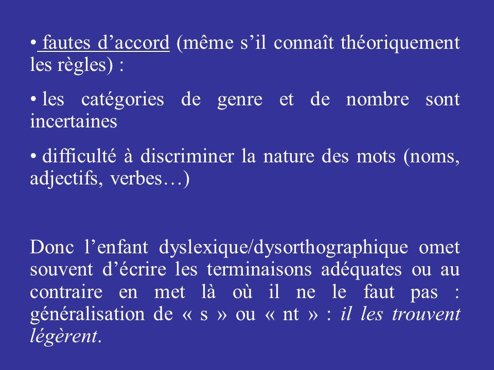 fautes daccord (même sil connaît théoriquement les règles) : les catégories de genre et de nombre sont incertaines difficulté à discriminer la nature