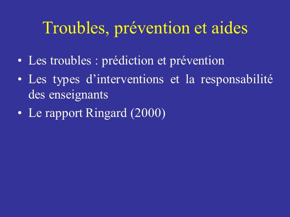 Troubles, prévention et aides Les troubles : prédiction et prévention Les types dinterventions et la responsabilité des enseignants Le rapport Ringard