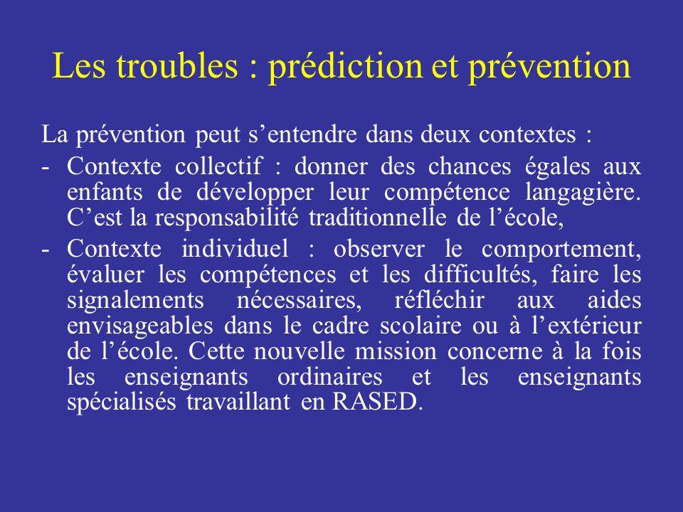 Les troubles : prédiction et prévention La prévention peut sentendre dans deux contextes : -Contexte collectif : donner des chances égales aux enfants